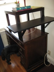 Desk from Ikea parts (dog not included)